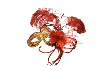 Venetian mask red with gold. Vector illustration.