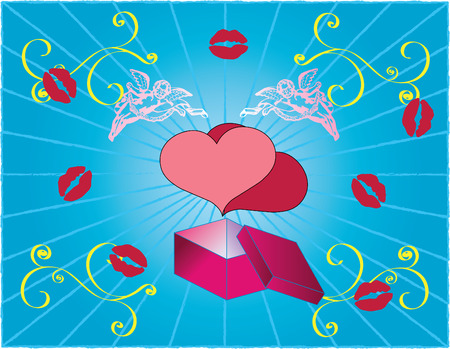 Vector greeting valentines card hearts with angeles Stock Vector - 2360492