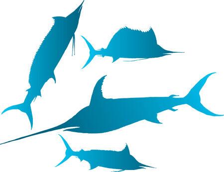 pez vela: Ilustraci�n vectorial siluetas de la aguja, Spearfish, pez vela y pez espada -
