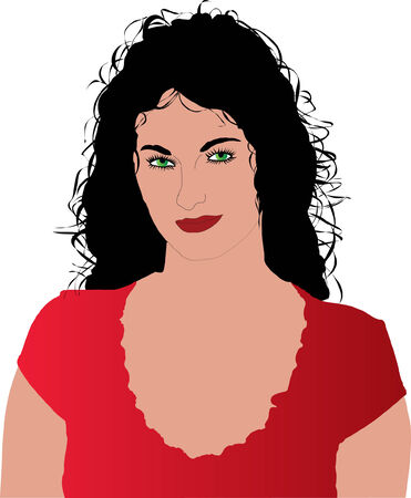 The beautiful vector girl in red dress Vector
