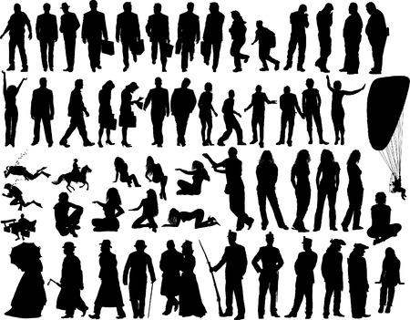 back lit: Big vecto colecci�n de diferentes siluetas de personas
