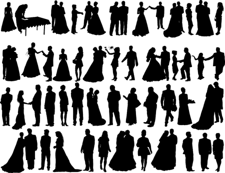 Big vector collection of wedding silhouettes isolated on white Stock Vector - 2711172