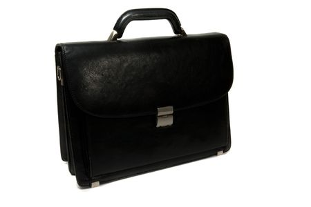 Black  briefcase isolated on the white background photo