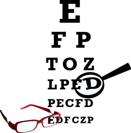 Test alphabet in oculist room with glasses and loupe. Vector illustration. Vector