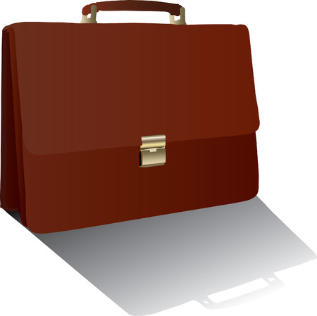 Vector brown briefcase isolated on the white background Vector