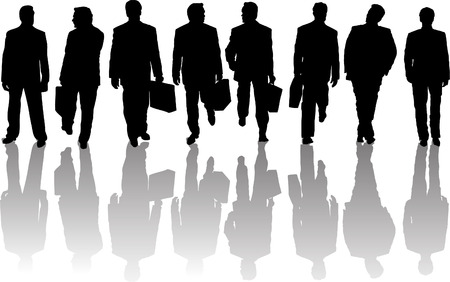 Collection of business people silhouettes with shadows Vector