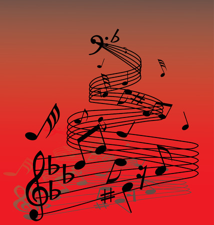 Abstract music background with different notes and lines Stock Vector - 2970127