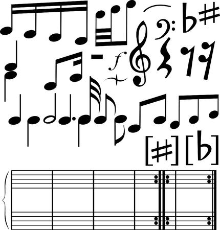 semiquaver: Serie completa di note simboli sulla sfondo bianco