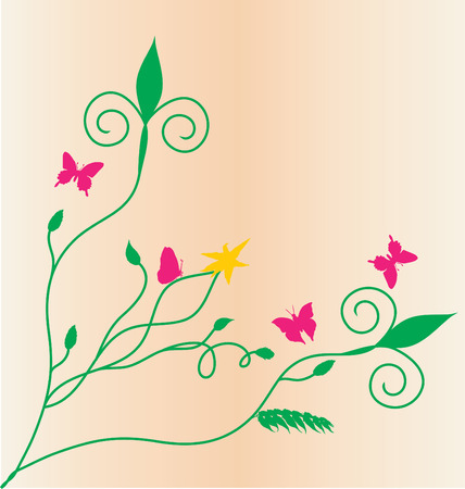 Spring floral vector ornament with leaves and butterflies Stock Vector - 2978040