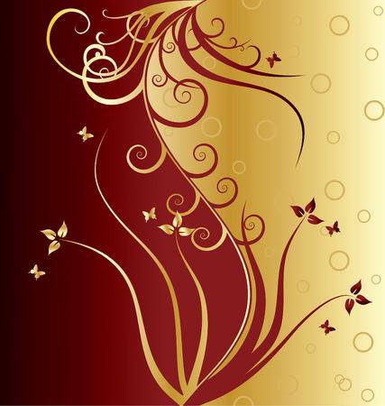 floral vector: Primavera vector ornamento floral con hojas y mariposas  Vectores