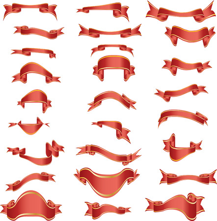 Collection of vector curves ribbons in different shape Vector