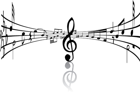autograph: Abstract music background with different notes and lines