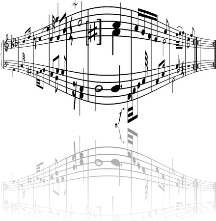 crotchets: Abstract music background with different notes and lines