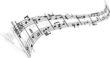 abstract music: Abstracte achtergrond muziek met verschillende noten en lijnen