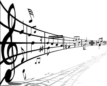 viertelnote: Hintergrund-Musik mit verschiedenen Noten auf den wei�en