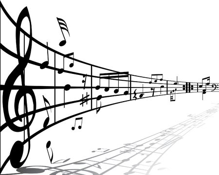 Music background with different notes on the white Stock Vector - 3078289