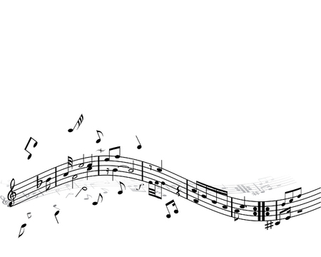 Music background with different notes on the white Stock Vector - 3078287