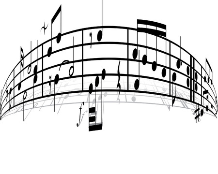 crotchets: Music background with different notes on the white