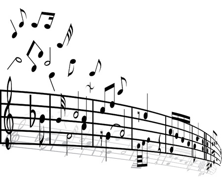 eighth note: Music background with different notes on the white