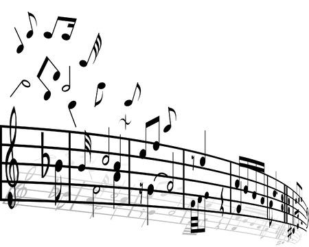 semiquaver: Musica di sfondo con diverse note sul bianco  Vettoriali