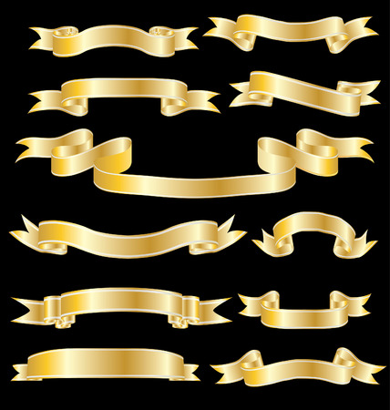 Set of vector ribbons with stripes and gradients Stock Vector - 3132972