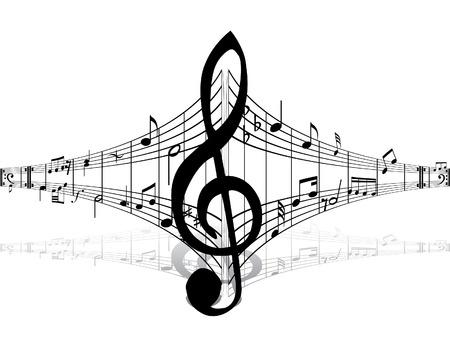 viertelnote: Hintergrund-Musik mit verschiedenen Notizen auf der wei�en Illustration