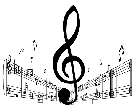 music sheet: Music background with different notes on the white