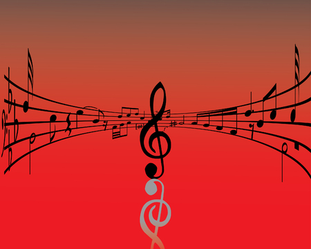 quarter note: Abstract music background with different notes and lines