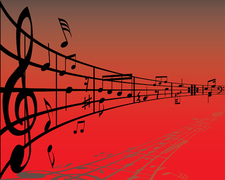 Abstract music background with different notes and lines Vector