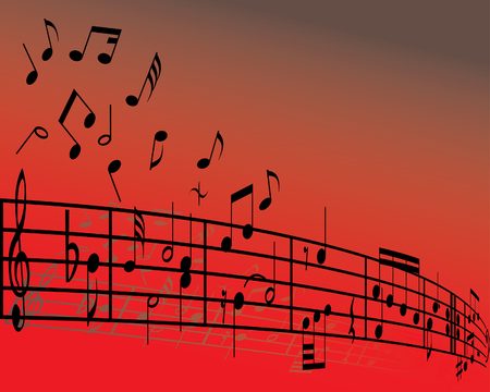 eighth note: Abstract music background with different notes and lines