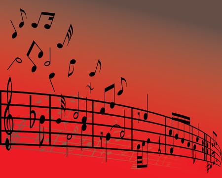 viertelnote: Zusammenfassung Hintergrund-Musik mit verschiedenen Noten und Linien Illustration