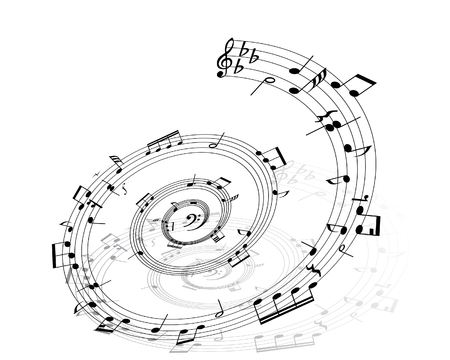 quavers: Music background with different notes on the white