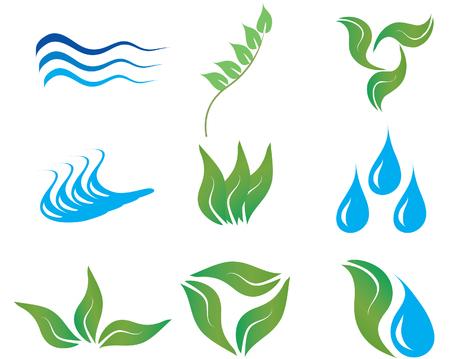 Ecología y botánicos para el diseño iconos uso