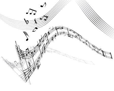 semiquaver: La musica di fondo con diverse note sul bianco
