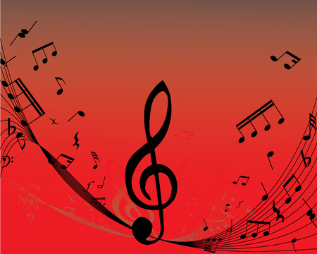 Abstract music background with different notes and lines Stock Vector - 3204804