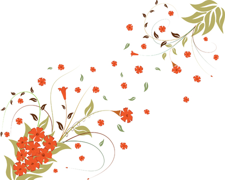 Spring floral vector ornament with leaves and flowers Vector