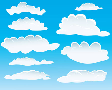 Set of different shape of clouds for design usage Vector