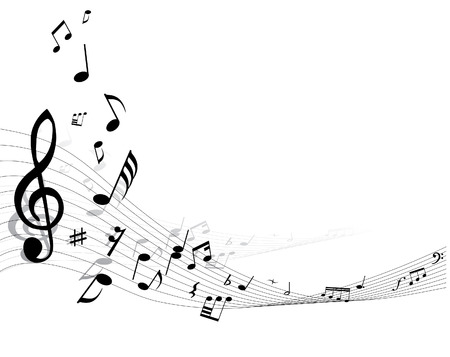 Music background with different notes on the white Stock Vector - 3237086