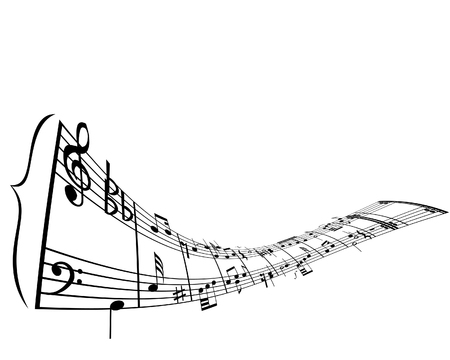 Music background with different notes on the white Vector