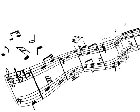 semiquaver: Music background with different notes on the white
