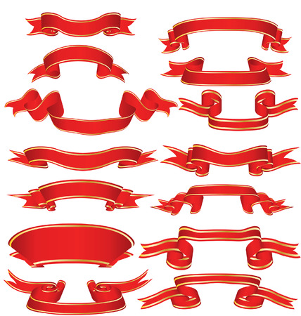 scroll up: Collection of vector brightly red ribbons in different shape