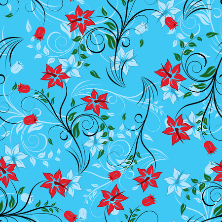 Floral seamless background for yours design usage. For easy making seamless pattern just drag all group into swatches bar, and use it for filling any contours. Vector