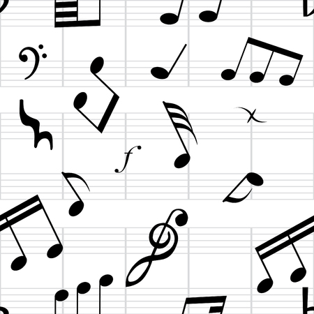 Seamless musical notes texture. For easy making seamless pattern just drag all group into swatches bar, and use it for filling any contours. Vector