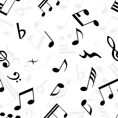 crotchets: Seamless musical notes texture. For easy making seamless pattern just drag all group into swatches bar, and use it for filling any contours. Illustration