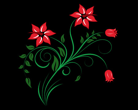 Single vector flower on the black  background for design usage