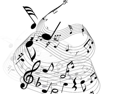 semiquaver: Note musicali con le linee di fondo. Illustrazione vettoriale.