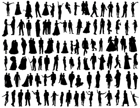 Big vector collection of hundred different people. Vector
