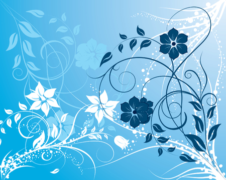 Blue and white floral background ornate for design use Vector