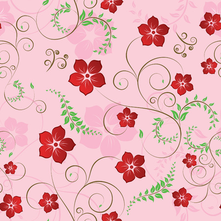 Floral seamless background for yours design use. For easy making seamless pattern just drag all group into swatches bar, and use it for filling any contours. Stock Vector - 3331207