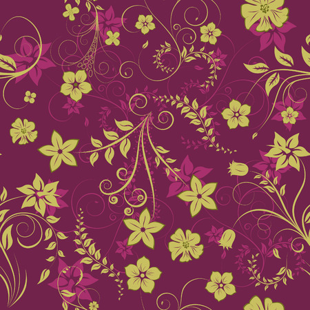 Floral seamless background for yours design use. For easy making seamless pattern just drag all group into swatches bar, and use it for filling any contours. Illustration